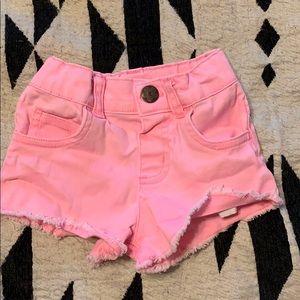 Hot pink toddler distressed shorts